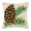 Peking Handicraft Pine Cone Hook Wool Throw Pillow