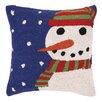 Peking Handicraft Snowy Night Snowman Hook Wool Throw Pillow