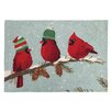 Peking Handicraft Red Birds Hook Area Rug