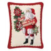 Peking Handicraft Santa and Teddy Bear Needlepoint Lumbar Pillow