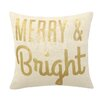 Peking Handicraft Merry & Bright Sequins Linen Throw Pillow
