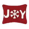 Peking Handicraft Joy Applique Cable Knit Throw Pillow
