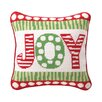 Peking Handicraft Joy Needlepoint Reversible Wool Throw Pillow