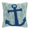 Peking Handicraft Nautical Knot Anchor Wool Throw Pillow
