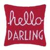 Peking Handicraft Hello Darling Square Hook Wool Throw Pillow