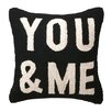 Peking Handicraft You & Me Square Hook Wool Throw Pillow