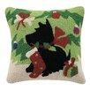 Peking Handicraft Scottie with Stocking Wool Throw Pillow