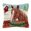 Peking Handicraft Holiday Horse Wool Throw Pillow