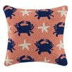 Peking Handicraft Crab Starfish Repeat 100% Cotton Throw Pillow