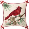 Peking Handicraft Needlepoit Cardinal Wool Throw Pillow