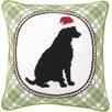 Peking Handicraft Christmas Dog Needlepoint Throw Pillow