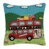 Peking Handicraft Red Bus Hook Cotton Lumbar Pillow