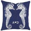 TheWatsonShop Monogram Seahorses Cotton Throw Pillow