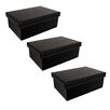 WaldImports 3 Piece  Black Embossed Paperboard Box Set with Lids (Set of 3)