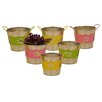 WaldImports Round Metal Flower Band Containers (Set of 6)