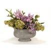 Distinctive Designs Lavender, Green Mix of Hydrangeas, Lilacs in Oval Concrete Planter