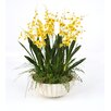 Distinctive Designs Gold-Yellow Dancing Orchids with Grass in Large Fluted Bowl