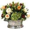 Distinctive Designs Mixed Floral of Roses, Hydrangea and Tulips in Pewter Newport Planter