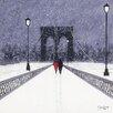 Art Group Nighttime Stroll Across Brooklyn Bridge by Jon Barker Canvas Wall Art