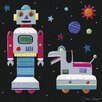Art Group A Robot and His Dog by Simon Hart Art Print on Canvas