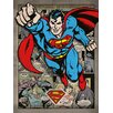 Art Group Gerahmtes Leinwandbild Superman Comic Montage, Grafikkunst