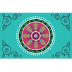 Manual Woodworkers & Weavers Boho Medallion Square Turquoise Area Rug