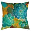 Manual Woodworkers & Weavers Aqua Bloom Blooms Indoor/Outdoor Throw Pillow