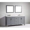"Legion Furniture 72"" Soild Wood Double Sink Vanity with Mirror"