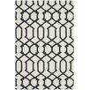 Safavieh Handgewebter Teppich Dhurrie in Elfenbein/Anthrazit