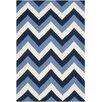 Safavieh Handgewebter Teppich Dhurrie in Blau/Elfenbein