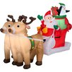Gemmy Industries Airblown Inflatables Santa with Sleigh and Reindeer Scene
