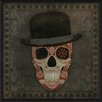 The Artwork Factory Sugar Skull with Hat Framed Graphic Art in Red