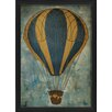 The Artwork Factory Hot Air Balloon Blue and Yellow Framed Graphic Art