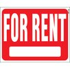 """Hy-Ko 15"""" x 19"""" Plastic For Rent Sign (Set of 5)"""