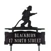 Montague Metal Products Inc. Two Line Lawn Address Sign with Fireman