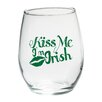 "Kate Aspen ""Kiss Me I'm Irish"" Green Design Stemless Wine Glass (Set of 4)"