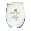 """Kate Aspen """"Keep Calm and Drink On"""" Green Design Stemless Wine Glass (Set of 4)"""