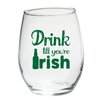 "Kate Aspen ""Drink till you're Irish"" Green Design Stemless Wine Glass (Set of 4)"