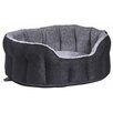 P & L Superior Pet Beds Premium Oval Heavy Duty Fleece Lined Softee Bed in Black/Grey