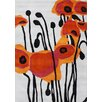 James Bond Alliyah Tulip Flower Grey/Orange Area Rug