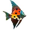 Novus Imports Orange & Yellow Spotted Glass Fish Original Painting Plaque