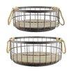 CKK Home Décor, LP Stonebriar 2 Piece Wire and Wood Coastal Basket Set