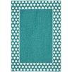 Garland Rug Polka Dot Frame Teal/White Area Rug