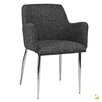 Kanto Palma-4 Wool Arm Chairs with Chrome Legs (Set of 2)