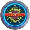 "Neonetics 15"" Chrysler Plymouth Neon Clock"