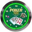 "Neonetics Bar and Game Room 15"" Poker Wall Clock"