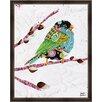 Green Leaf Art Bird on Branch Framed Painting Print