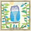 Green Leaf Art Owl Framed Painting Print