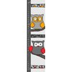 Green Leaf Art Gray Owls with Yellow and Red Growth Chart