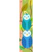 Green Leaf Art Blue Owls on Brown Branches Growth Chart